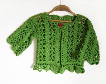 Crocheted Baby Cardigan - Green, 2 years
