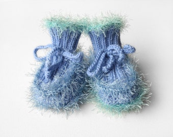 Hand Knitted Baby Booties - Light Blue, 6 - 9 months