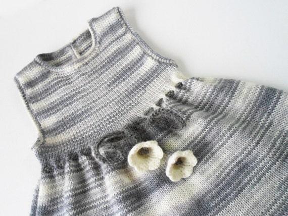 Knitted Baby Dress - Gray and White, 12 - 18 months