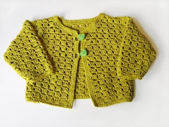 Crocheted Baby Cardigan - Yellow-green, 2 years