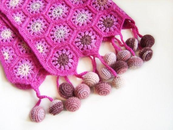 Crocheted Hexagon Baby Blanket - Fuchsia Pink