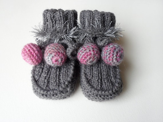 Hand Knitted Baby Booties - Gray, 6 - 9 months