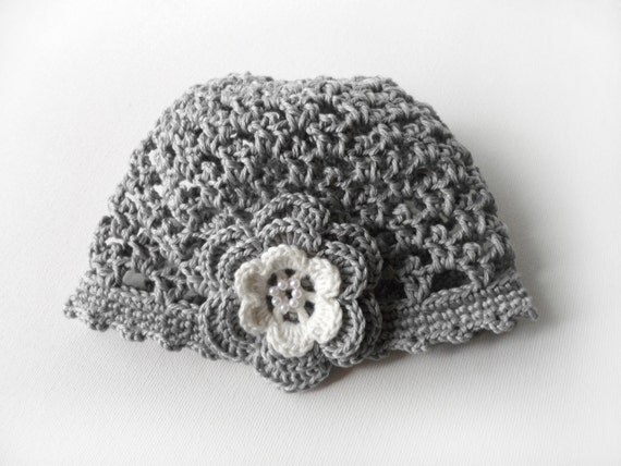 Crocheted Baby Hat with Flower - Gray
