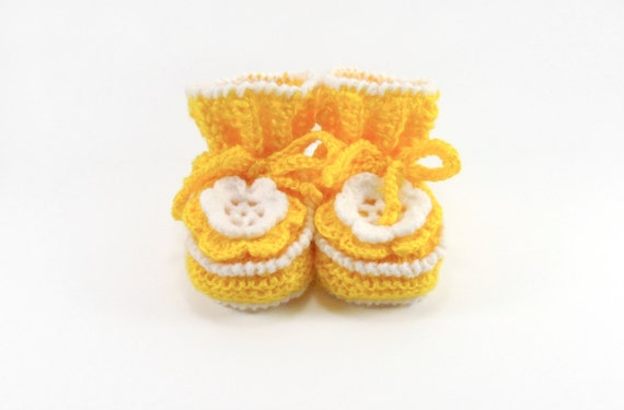 Baby Booties Hand Knitted with Crochet Flower - Yellow, 3 - 6 months