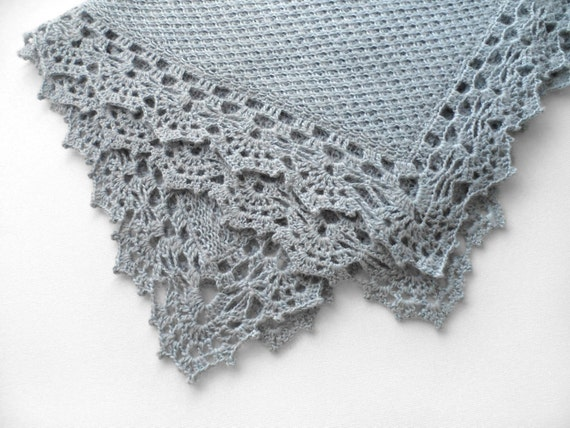 Knitted Baby Blanket - Blue-Gray