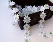White With Green Daisy Trim-2 (Two) Yard
