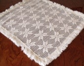Vintage Lace Square Cloth or Small Tablecloth