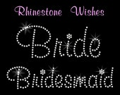 Bridal Party Package 6 Pack in Murray Hill Font Rhinestone Transfer Iron On DIY Bling Wedding