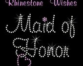 Maid of Honor with Heart in Murray Hill Font Rhinestone Transfer Iron On DIY Wedding Bling