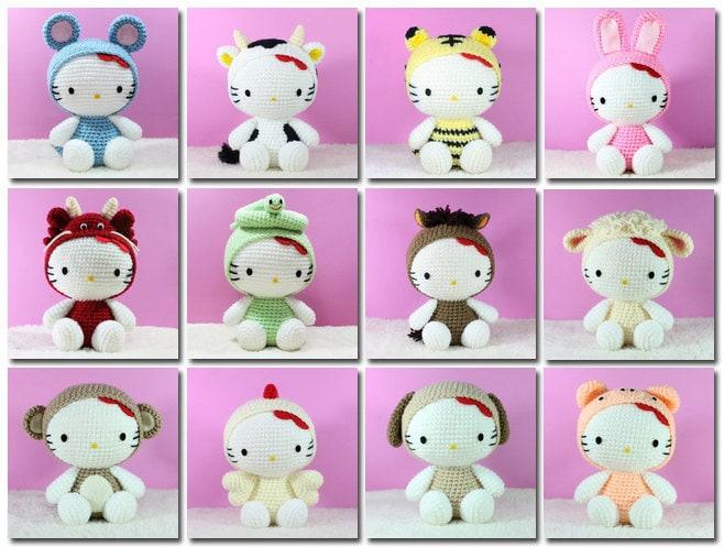 PDF Pattern 12 Amigurumi Hello Kitty in Chinese Zodiac by ...