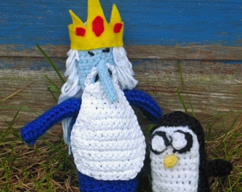 Crochet Ice King & Gunter from Adventure Time - Made to Order
