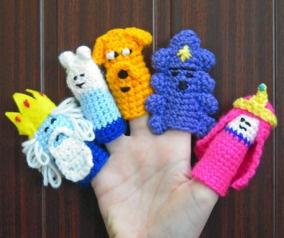 Crochet  Adventure Time Finger Puppets X 5 Finn Ice King Jake LSP & Princess Bubblegum