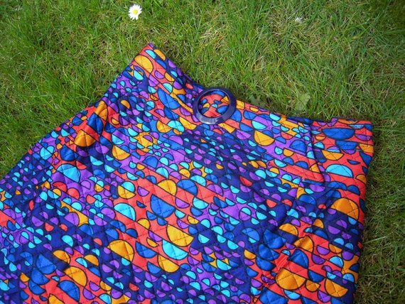 Fabulous Vintage Windsmoor Psychedelic Quilted Maxi Skirt - Bright Purples
