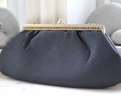 1960s Black Textured Satin Formal Handbag Vintage