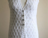 1970s White Lace Effect Long Line Vest / Waistcoat Vintage