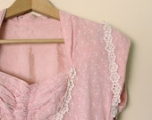 50s Vintage Pink Sweetheart Neck Dress