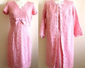 Reserved for Debbie - Vintage 60s Pink Lace Dress and Swing Coat Set Wedding Bridesmaid