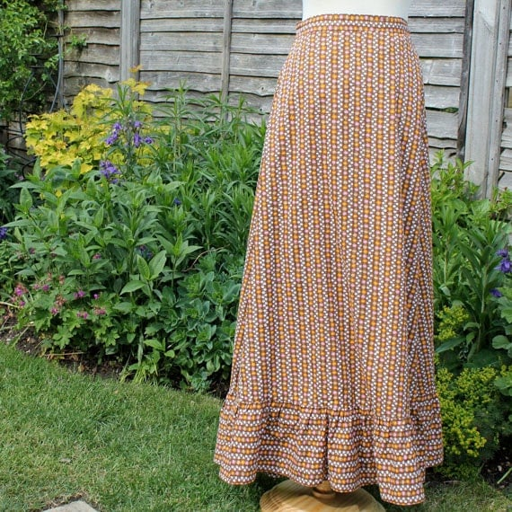 Vintage 1970s Long A-Line Wrap-Around Floral Skirt