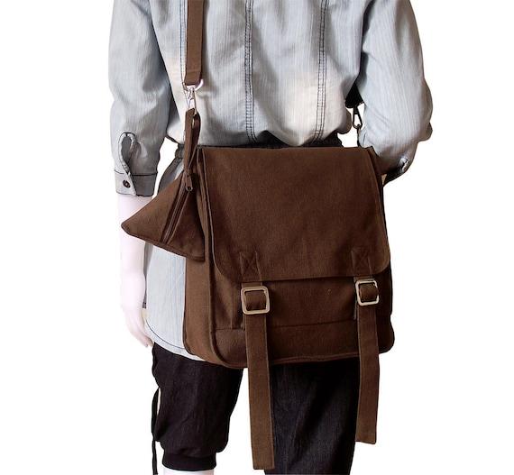 Canvas messenger bag / 14 oz. dark brown canvas / shoulder bag / Jane