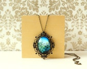 Tree Top Branches Dusting The Blue Sky - Large Brass Photo Pendant With Long Chain