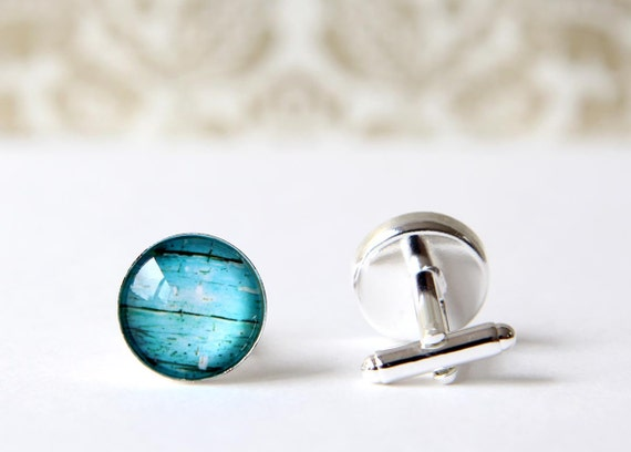 Turquoise Wood Texture Round Photo Cufflinks For Men- Silver Plated, Graduation