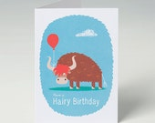 Birthday Card, Yak with a Red Balloon, Have a Hairy Birthday