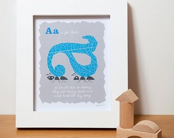 Baby Nursery Decor, Alphabet Letters, Ants ABC Print in Blue