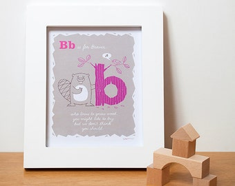 Alphabet Art, Beaver Alphabet Print,  ABC Nursery Decor in Pink