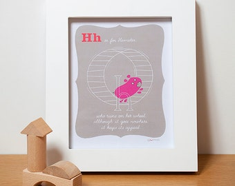 Baby Girl Nursery Art, Hamster Alphabet Print in Pink