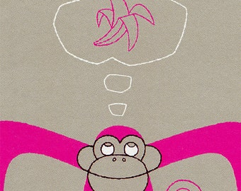 Monkey Art, Alphabet Nursery Print