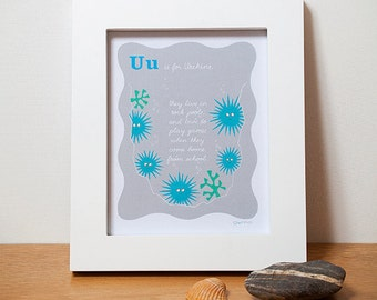 Sea Art, Urchins Alphabet Print, in Blue for a Baby Boy