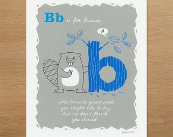 Nursery Decor, Beaver Alphabet Print in Blue