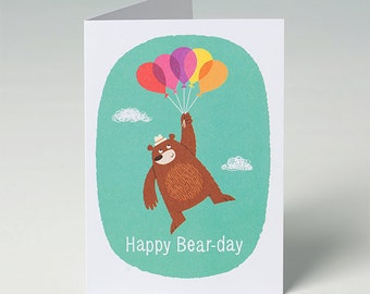 Birthday Card - Bear with Balloons - Happy Bear-day