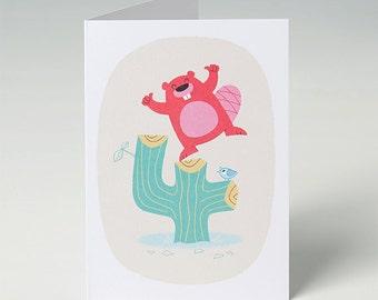 4th Birthday Card, Beaver Fourth Birthday Card for a Boy or Girl