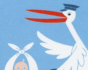 New Baby Card - Baby Boy Card in Blue