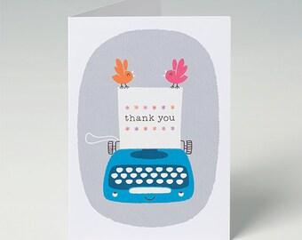 Thank You Card,  Vintage Typewriter Card in Turquoise