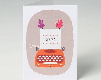 Celebration Card - Yay - Vintage Typewriter Card - in Orange