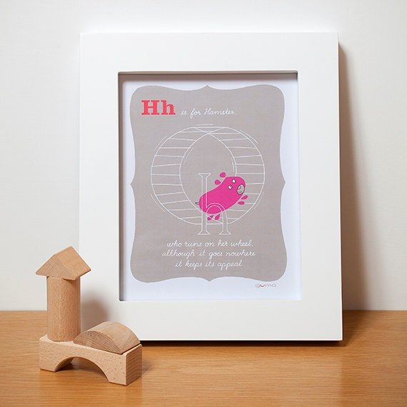 Baby Girl Nursery Art, Hamster Alphabet Print in Pink
