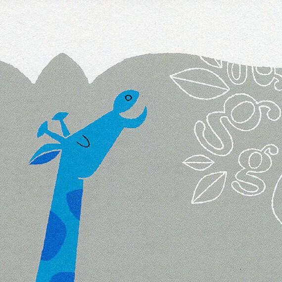 Safari Animal Art - Nursery Decor - Giraffe Alphabet Print in Blue