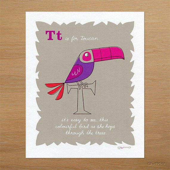 Children's Bird Art, Toucan Alphabet Print in Pink and Purple