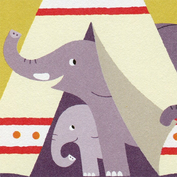 New Home Card, Elephant Family in a Teepee