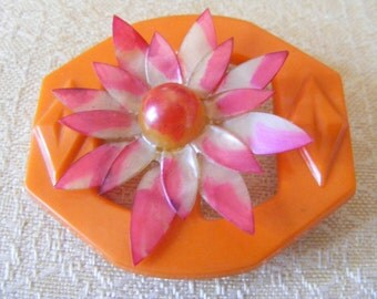 Vintage Pin Brooch 1930s Orange Bakelite Buckle Vintage Re-design Upcycle Jewelry accented with  Pink Celluoid Flower