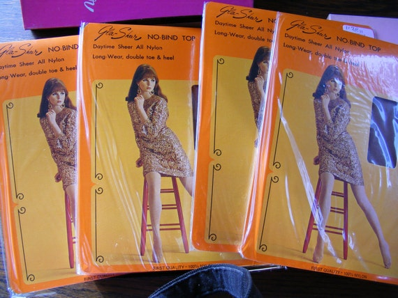 "Vintage 1960s Nylon Stockings ""GLA - SHEEN"" 6 Pair in Original Box and Packaging Size 10  Unworn / New Old Stock"