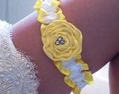 Custom Listing for Kristin - Rose Collection Yellow Rose and White Satin Wedding Garter set