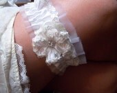 White Wedding Garter Set in Satin and Tulle with Iridescent Sequins and Rhinestones, Very Elegant Bridal Garter Set, Ready To Ship, OOAK