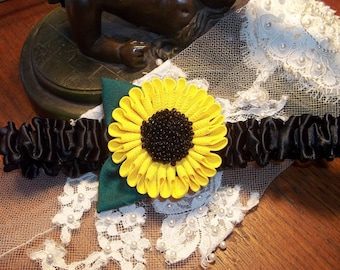 Sunflower Garter with a Black  Satin Band