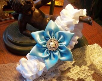 Blue and White Wedding Garter, Blue Bridal Garter, Pearls and Rhinestones Wedding Garter, Blue Star Flower, Wedding Garter Toss