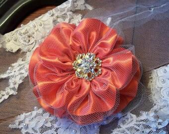 Poppy Bridal Fascinator, Hair Flower with Rhinestone Center, Persimmon Bridal Flower Clip, Bridesmaid Hair Clip
