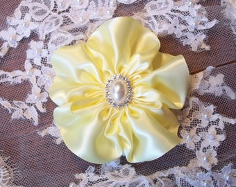 Baby Maize Yellow Satin Flower Fascinator Hair Clip with Rhinestone and Pearl Center