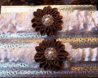 Wedding Garter Set with Brown Daisy and Lace Daisies, Bridal Garter on White Satin